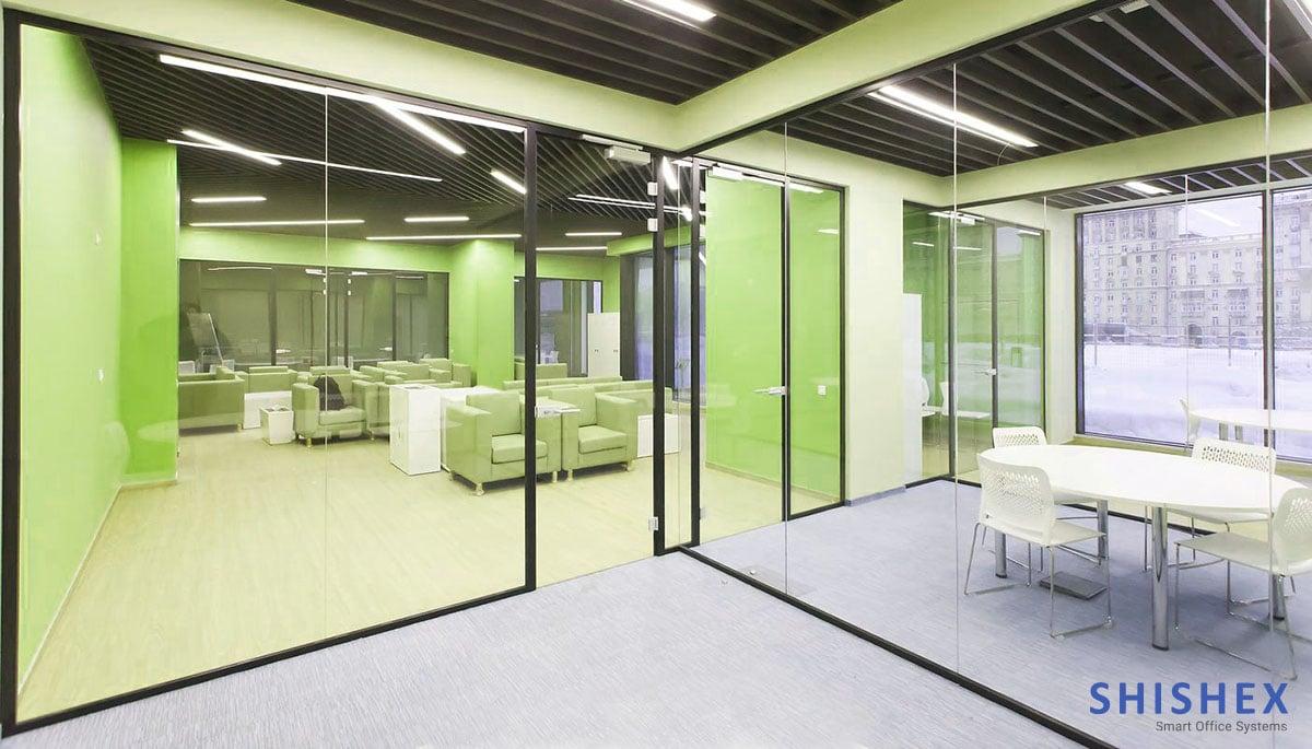 پارتیشن تمام شیشه برای دفاتر بزرگ